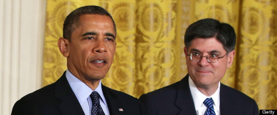 U.S. President Barack Obama (left) speaks as White House Chief of Staff Jack Lew listens during a personnel announcement at the White House Jan. 25. (Photo by Alex Wong/Getty Images)