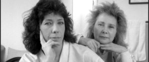 Lily Tomlin (left), an American actress, writer, comedian and Jane Wagner, American director and writer, pose in their dressing room at the Plymouth Theater, New York, NY, 1986. (Photo by Oliver Morris/Getty Images)
