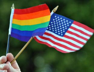 LGBT surveys - American and LGBT flag